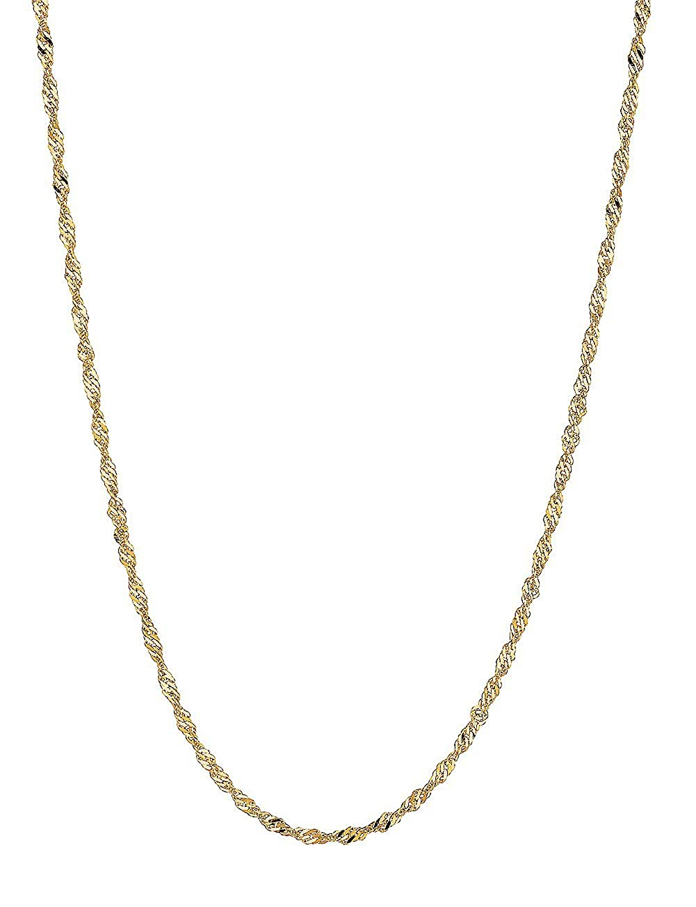 14k Solid Yellow And White Gold Singapore Rope Chain Necklace 1mm 18 Inches Ritastephens