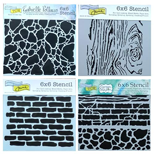 4 Mixed Media Stencils Set | Brick, Wall, Stone, Wood Grain Designs | 6 Inch x 6 Inch Templates for Arts, Card Making, Journaling, Scrapbooking | by Crafters - Wall Stencil Brick