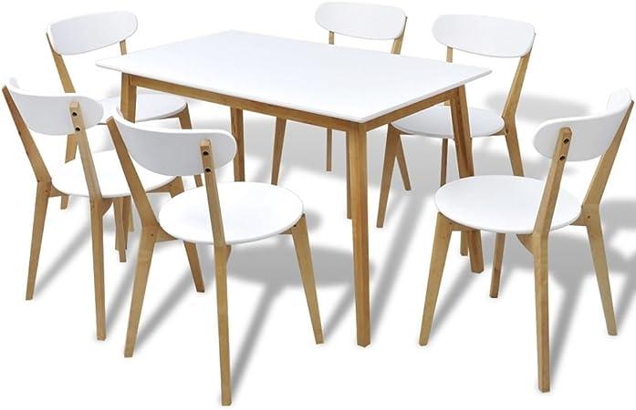Tidyard Set de Comedor Siete Piezas MDF y Madera de Abedul,Conjunto de Mesa sillas,Mesa Salón y Sillas,Muebles de Jardin: Amazon.es: Hogar