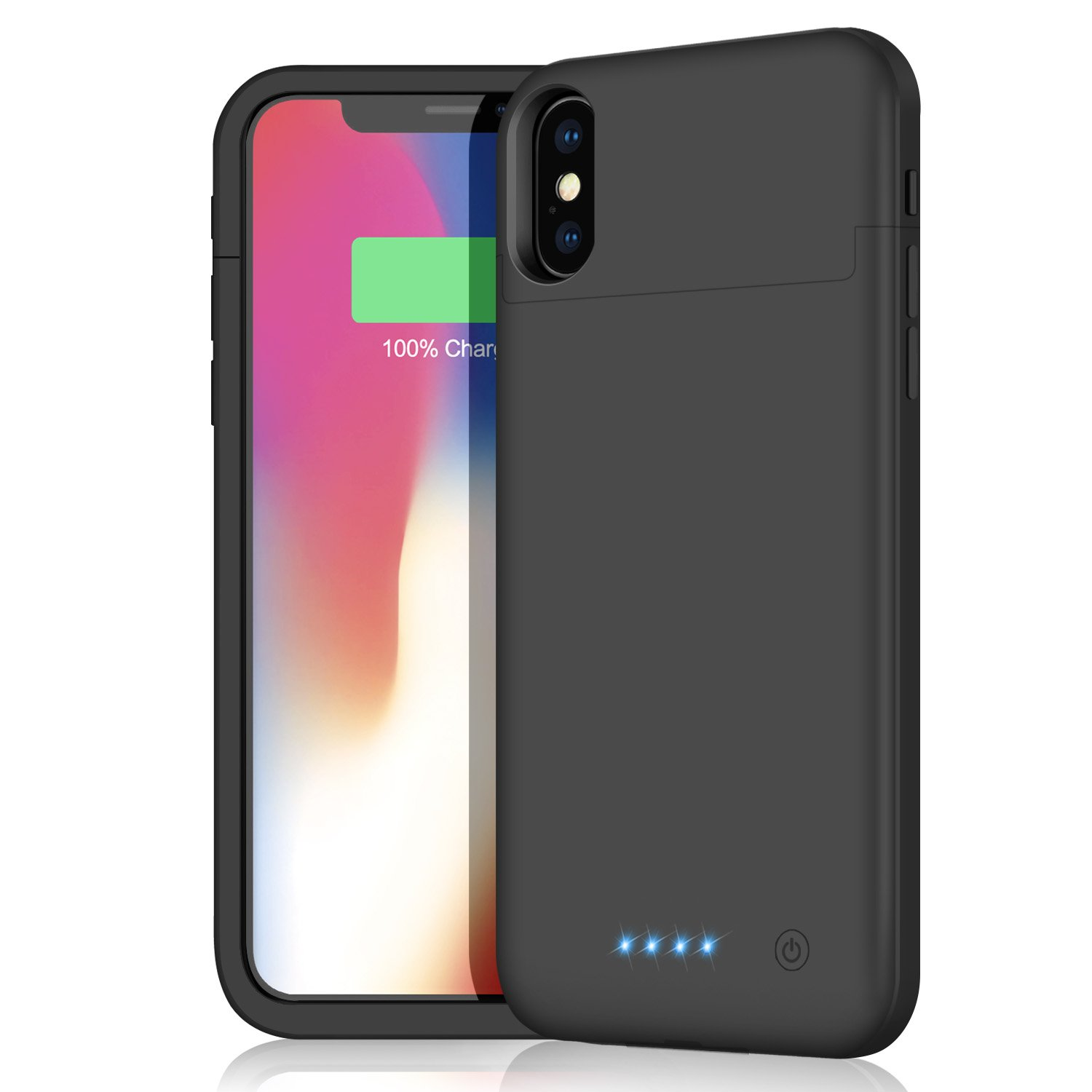 iPhone X/10 Battery Case, 5200mAh Protective Portable Charger Case External Battery Pack for Apple iPhone X/10 Rechargeable Backup Charging Case Battery Power Bank (5.8 inch) (Black)