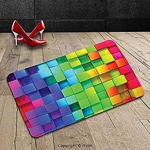 Custom lavable Felpudo (colorido decoración adhesivos de color Contour pantalla futurista bloque ladrillo como geométrico Artisan Multi uso en interiores/al aire libre Felpudo alfombra alfombra alfombra, 19.6x31.4 Inch