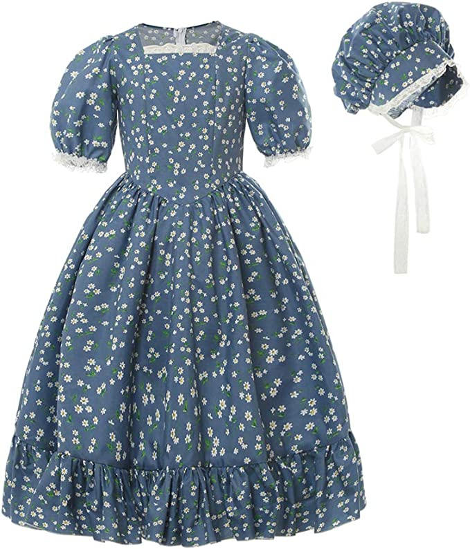 Vintage Style Children's Clothing: Girls, Boys, Baby, Toddler Pioneer Girls Costume Kids Child Prairie Colonial Pilgrim Costumes $32.99 AT vintagedancer.com