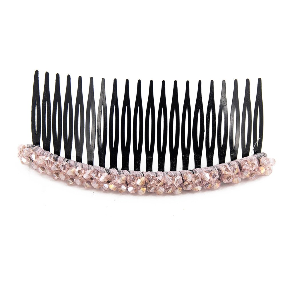 Yeshan 20 Teeth Plastic Hair Side Comb Hair clip with 2 rows crystal decoretion for Women and Girls, 4 inch(Mixed 6 colors) : Beauty