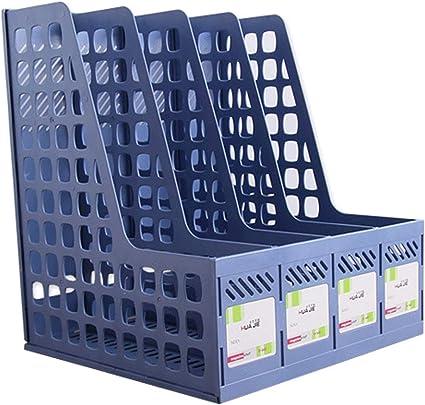 2 organizadores de archivos de escritorio, revistero de plástico, marco de separador de hojas sueltas, caja de almacenamiento de grupo: Amazon.es: Oficina y papelería