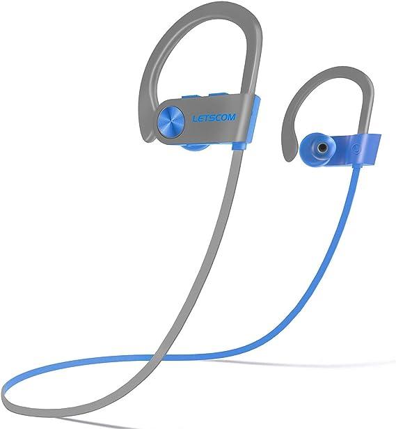 LETSCOM Bluetooth Headphones IPX7 Waterproof, Wireless Sport Earphones, Hifi Bass Stereo Sweatproof Earbuds