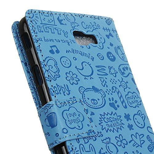 Lusee® PU Caso de cuero sintético Funda para Samsung Galaxy Xcover 4 SM-G390F 5.0 Pulgada Cubierta con funda de silicona botón pequeña bruja rojo rosa pequeña bruja azul