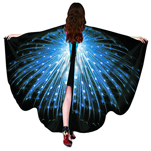 Shireake Baby Christmas/Party Prop Soft Fabric Butterfly Wings Shawl Fairy Ladies Nymph Pixie Costume Accessory ... (168x135CM, Peacock Sapphire)]()