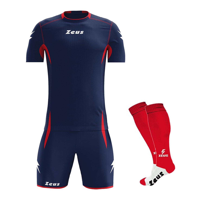 Zeus Kit Sparta Manica Corta COMPRESO di Calza Completo Completino Calcio Calcetto Maglietta E Pantaloncino Sport