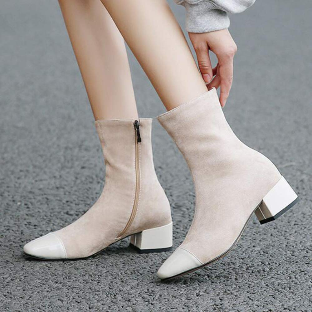 Women's Autumn Boots Autumn Women's and Winter Stretch Boots Thick with Square Head Stitching Fashion Boots Black Women's Boots,Apricot,UK7/EUR41 B07H3GV7XT Boots e42287