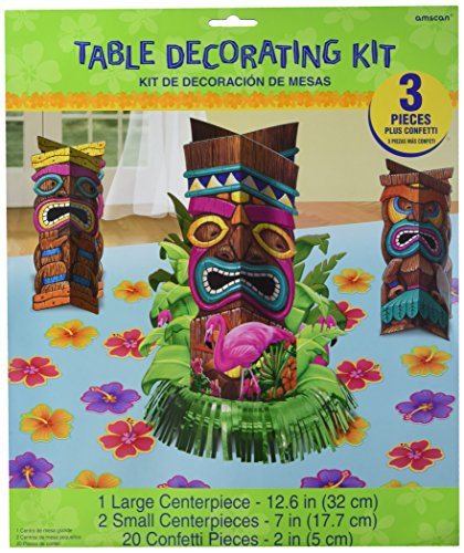 746ad62618360 Amscan Sun-Sational Luau Party Tropical Tiki Table Decorating Kit ...