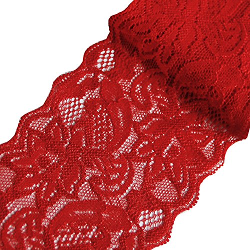 Laribbons 3 inch Floral Elastic Lace Trim, Solid Lace Fabric for Craft - 10 Yard (Red)
