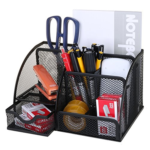 Mesh Pencil Holder | 5 Compartments Desk Organizer with Drawer | Industrial Look Sturdy Lightweight Durable Metal School Office Supply Caddy for Pen Scissors Paper Clips Stapler | Black | 1584 - Metal Desk Drawer Stationery Holders