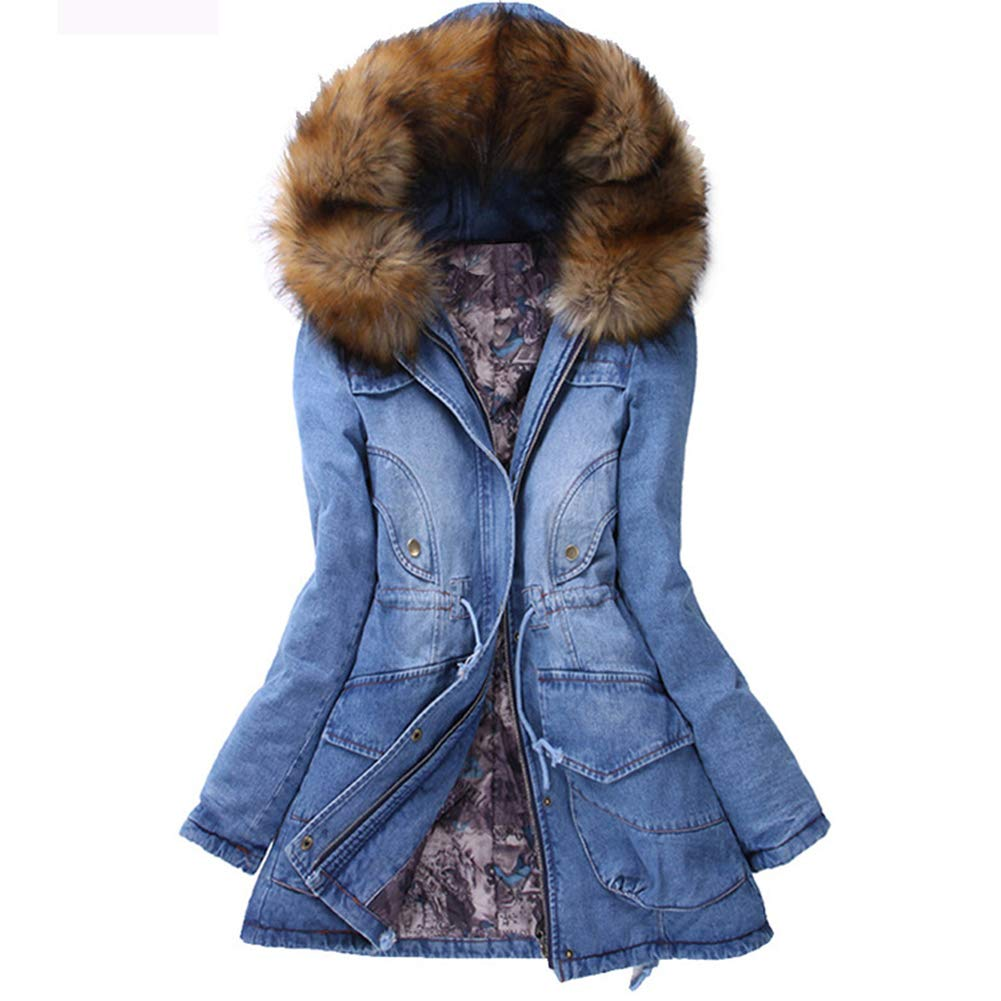 HEMAY Women Denim Winter Coat Faux Fur Hooded Jeans Parka Cotton Padded Jacket