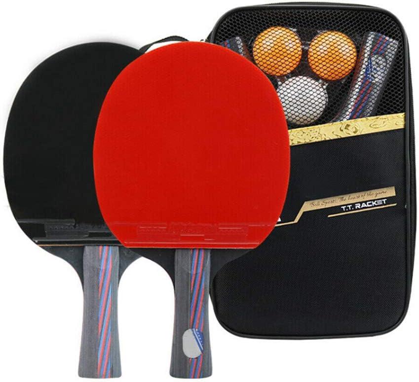Mintice 2 Raqueta de Ping Pong Tenis de Mesa Profesional Paleta Ping Pong Juego de Palo Bate con 3 Pelotas y Estuche 7 Capas de Madera Tenis de Mesa