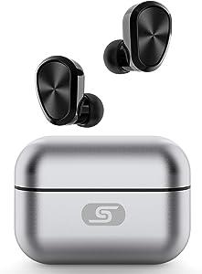 TWS Bluetooth 5.0 Wireless Earbuds SZSAGO W5s True Wireless Headphones for iPhone/Samsung IPX7 Waterproof Wireless Earphones with USB C Metal Charging case for Home Office,Work (Silver)