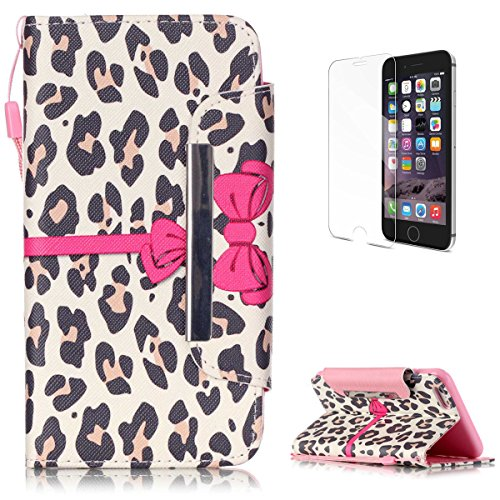 iPhone 6 Plus/6S Plus Premium Leather Wallet Case [Free Screen Protector],KaseHom Luxury Pink Bow Leopard Print Pattern Design Folio Flip Magnetic Protective PU Leather Case Cover Skin Shell