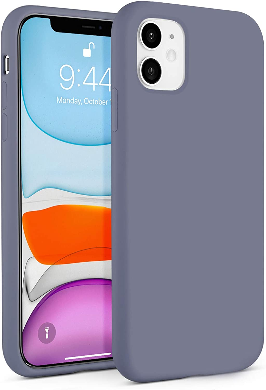 BEBEN Liquid Silicone Case Compatible with iPhone XR Case, Gel Rubber Full Body Protection Shockproof Cover Case Drop Protection Case for Apple iPhone XR 2018 (Blue Gray)