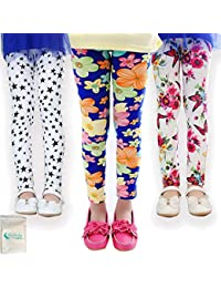 3-Pack Girl Pants Printing Flower Toddler Kids Classic Leggings 2-13Y