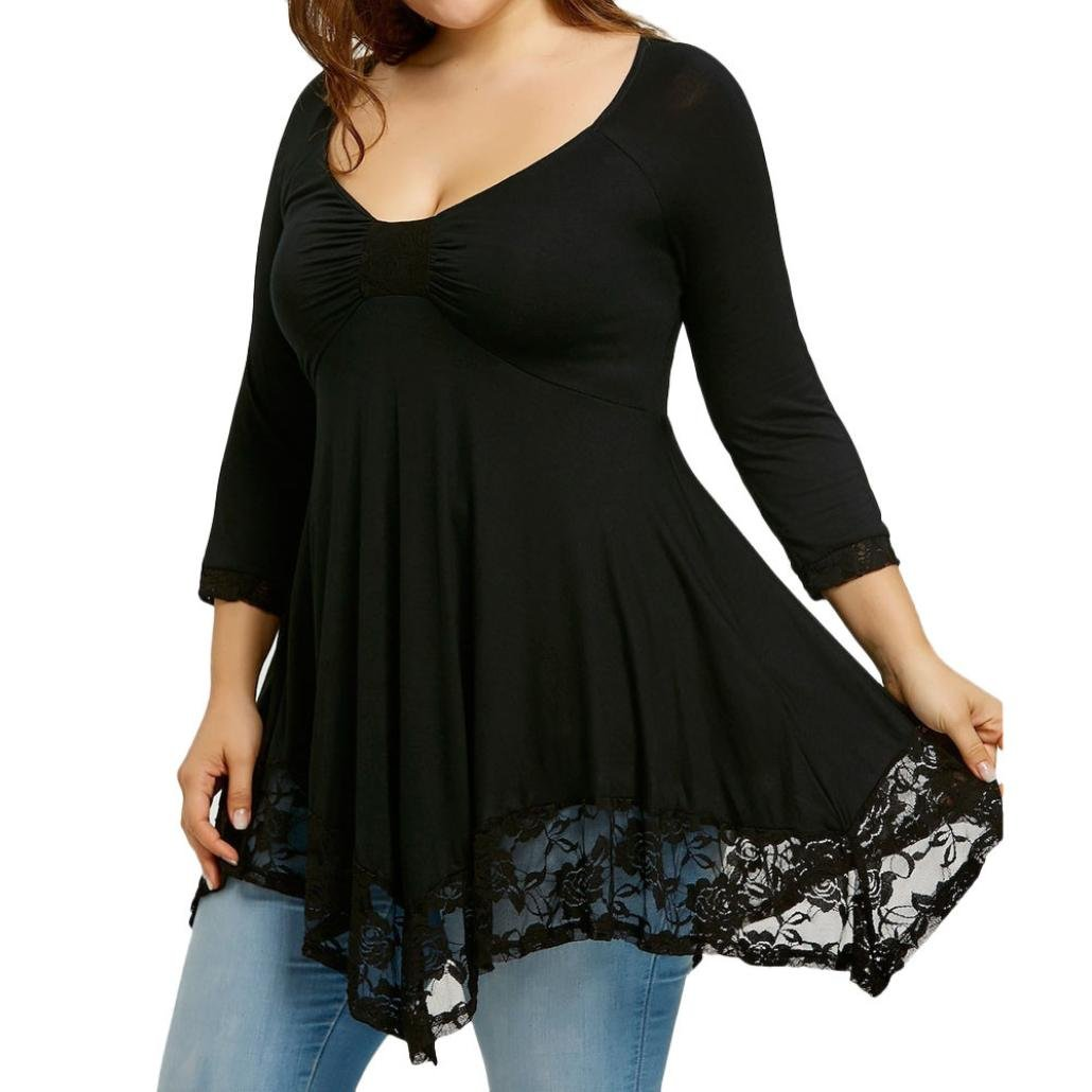 iHENGH Große Größe Damen-Spitze-Spleiß-Hemd-Lange Hülsen-beiläufiger unregelmäßiger Rand-Langes Hemd-Oberseiten-Bluse