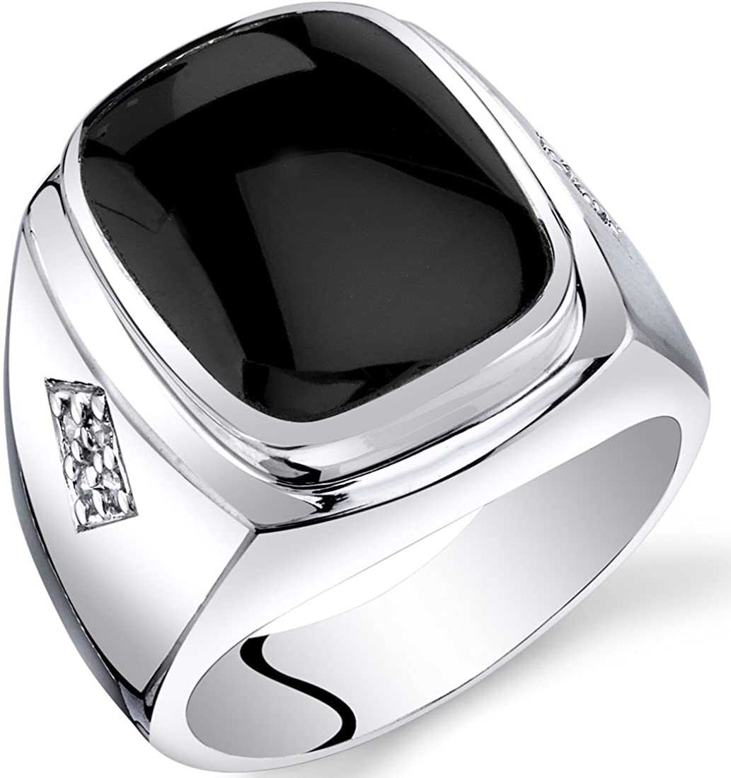 Mens Cushion Cut Onyx Knight Ring Sterling Silver Sizes 8 To 13