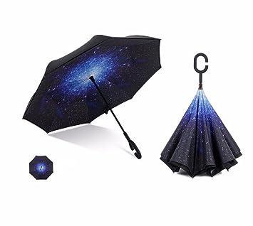 CNBBGJ Paraguas creativo de negocio personalizadas doble personalidad grandes hombres y mujeres manejar automóvil paraguas plegable