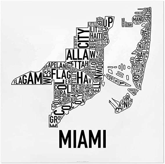 Miami neighborhoods map art decor Gallery wrapped canvas print of my hand drawn Miami artwork \u2013 several sizes and color options available