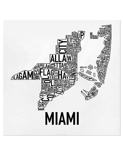 Amazon Com Miami Neighborhoods Map Art Poster Black White 18 X