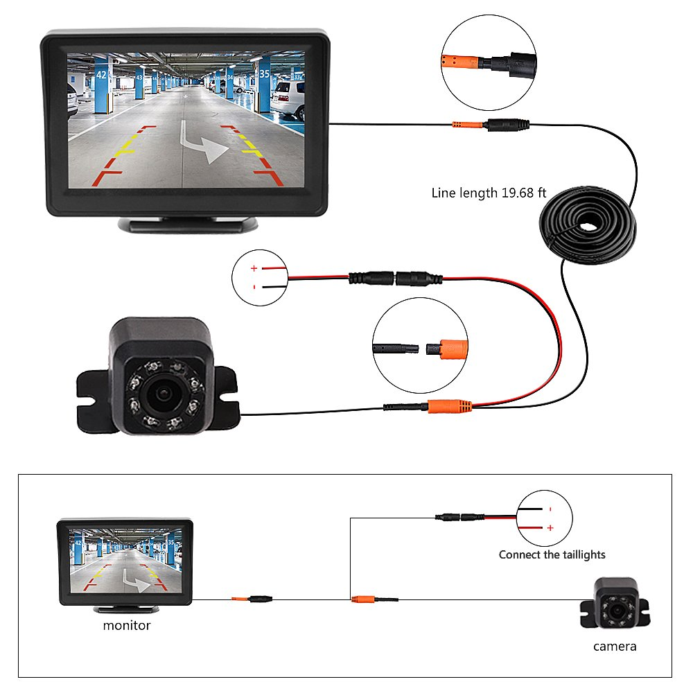 Cisno Quick Installation Car Backup Camera With 43 Lcd Pyle Plcm7700 Wiring Diagram Monitor Pickup Truck Camper Night Vision Parking Reverse Assistance System Cell Phones