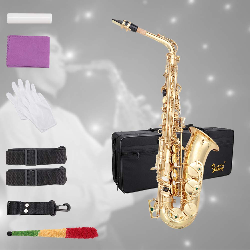 Glarry Student Alto Eb E-flat SAX Saxophone Gold Lacquer SAX Beginners Kit with Case, Reeds,Mouth Piece, Soft Cleaning Cloth and Rod,Gloves by GLARRY
