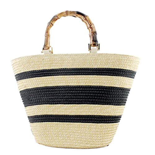506c99f92 Amazon.com: Donalworld Women Summer Straw Bag Striped Bamboo Handle Handbag  Woven Tote Beige: Shoes