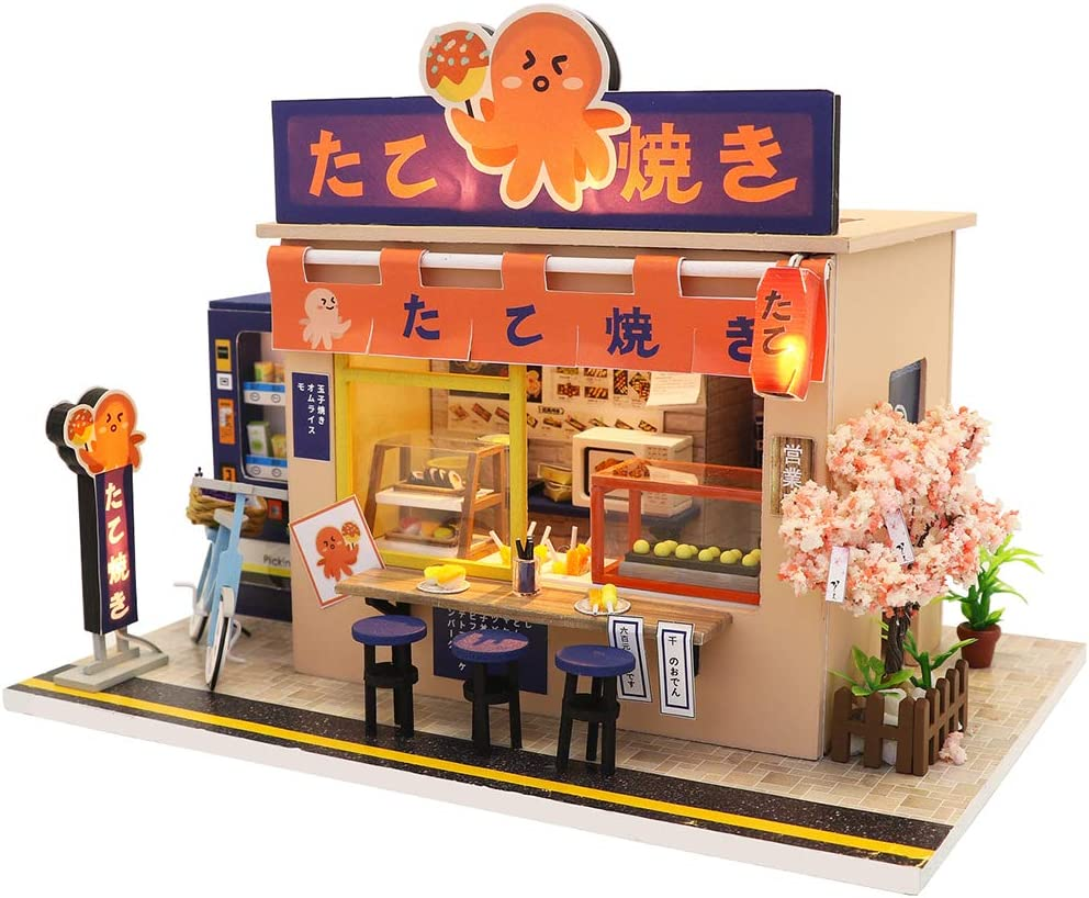 CUTEBEE Dollhouse Miniature with Furniture, DIY Wooden Dollhouse Kit Plus Dust Proof and Music Movement, 1:24 Scale Creative Room Idea (Octopus Burning)