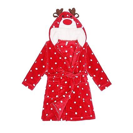 bfe80c6a409 Albornoz Niña Camisones Novedad Disfraz de Peluche Animales Ropa De Dormir  con Capucha Baño Costume Ciervo