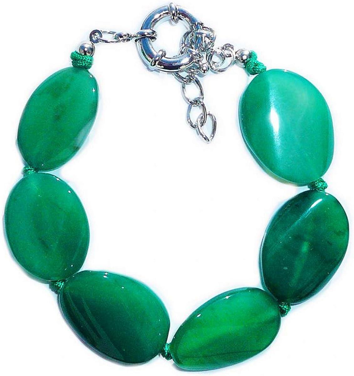 Pulsera de jade verde oscuro (jadeíta) cortado en forma ovalada