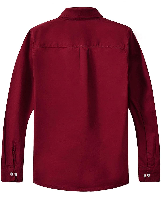 Spring /& Gege Jungen Einfarbiges Hemd mit Knopfkragen L/ässige Schuluniform f/ür Kinder aus Baumwolle