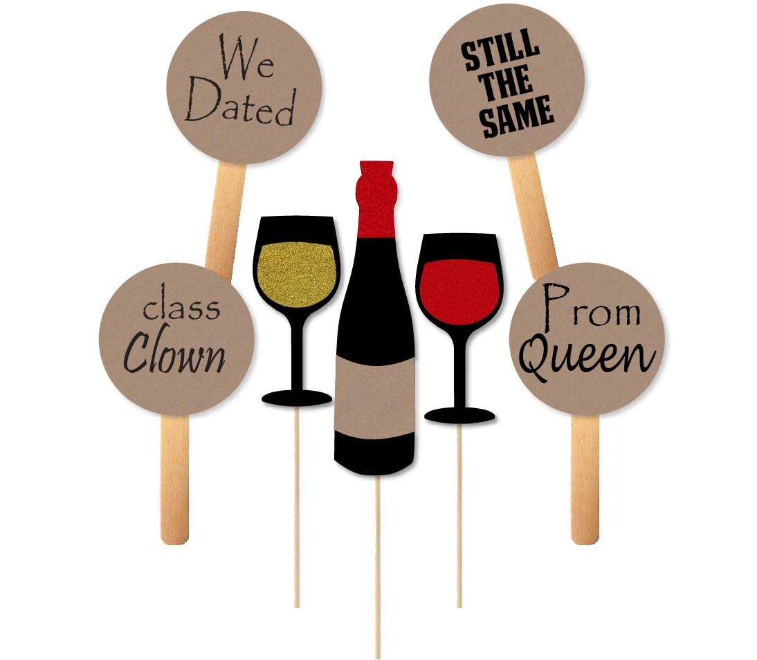 Reunion Wine Themed Photobooth Props and Paddles for High School College Homecoming