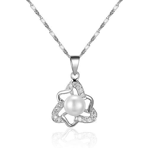 5465fbcc91f6 Plateados plata de ley 925 7 mm chino agua dulce perla cultivada Triangular  Triángulo Patrón de celosía cubic-zirconia incrustaciones colgante collar  18 ...