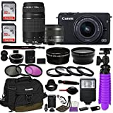 Canon EOS M10 Mirrorless Digital Camera (Black) Bundle w/Canon EF-M 15-45mm IS STM & EF 75-300mm f/4-5.6 III Lenses + Auto (EF/EF-S to EF-M) Mount Adapter + Canon Water Resistant Case + Accessories