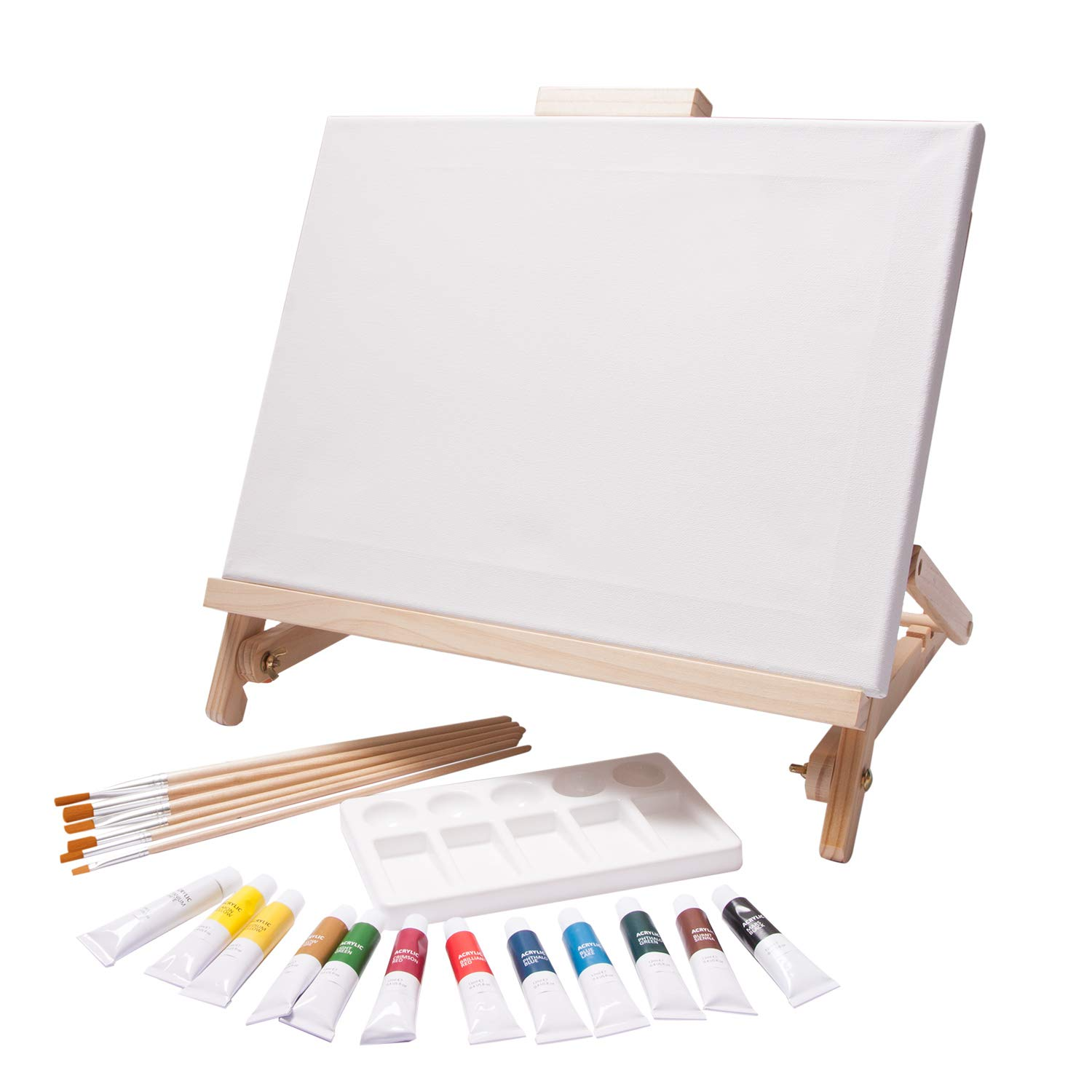 Sketching and Drawing Supplies 12 Tubes Canvas Desk Easel with Acrylic Paints Paintbrushes /& Palette for Painting Table Top Adjustable Wooden Desktop Easel