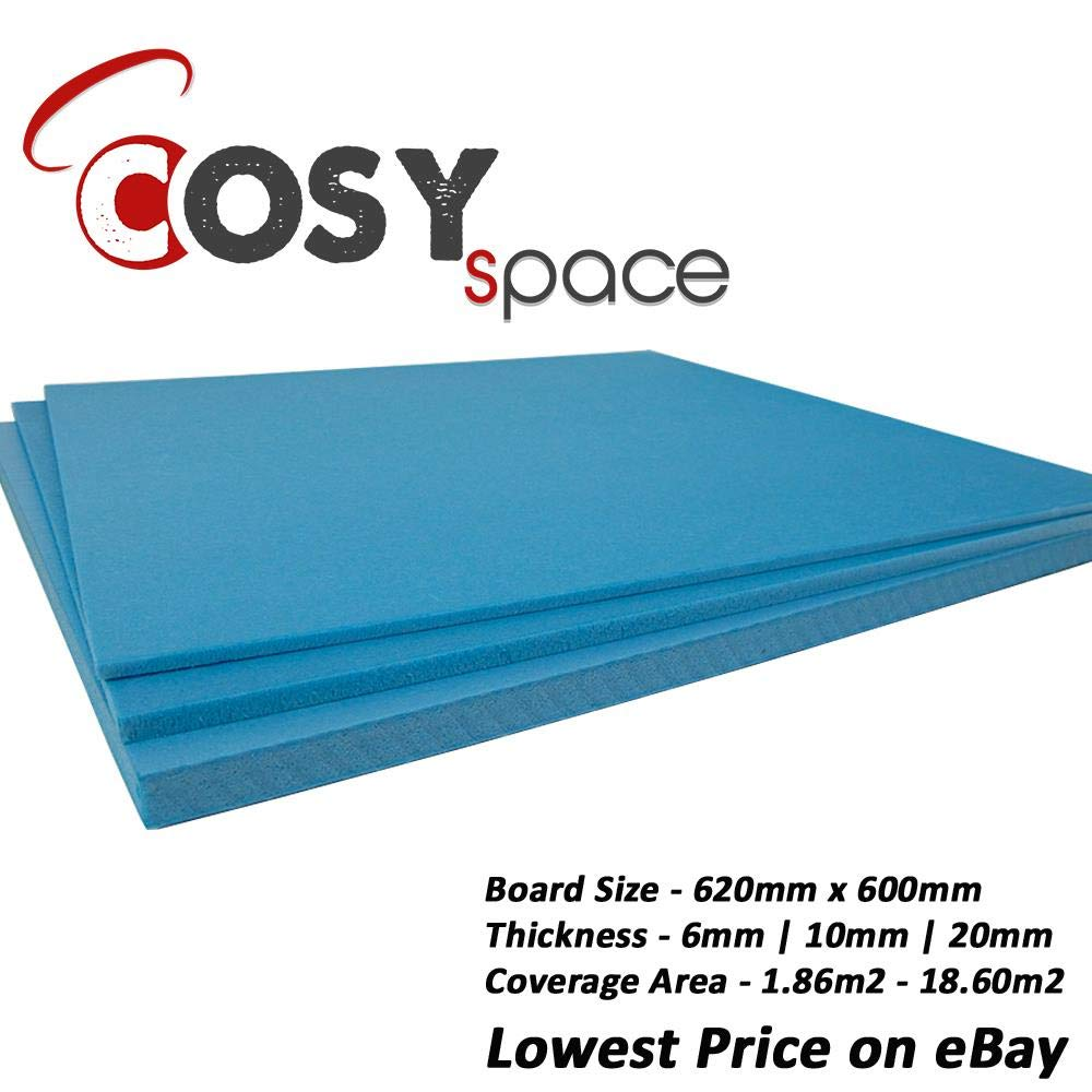 XPS Boards Floor Underlay Thermal Insulation Underfloor Heating 620 x 600mm x 6mm Sheets - 1.86m2 to 18.60m2 CosySpace