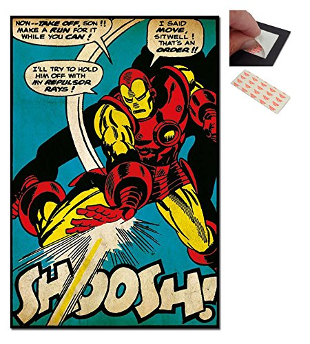 Bundle - 2 Items - Iron Man Shoosh Marvel Comic Poster - 91.