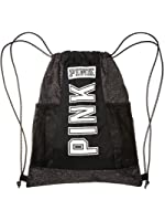 Amazon.com | Victoria's Secret PINK Drawstring Backpack Black ...