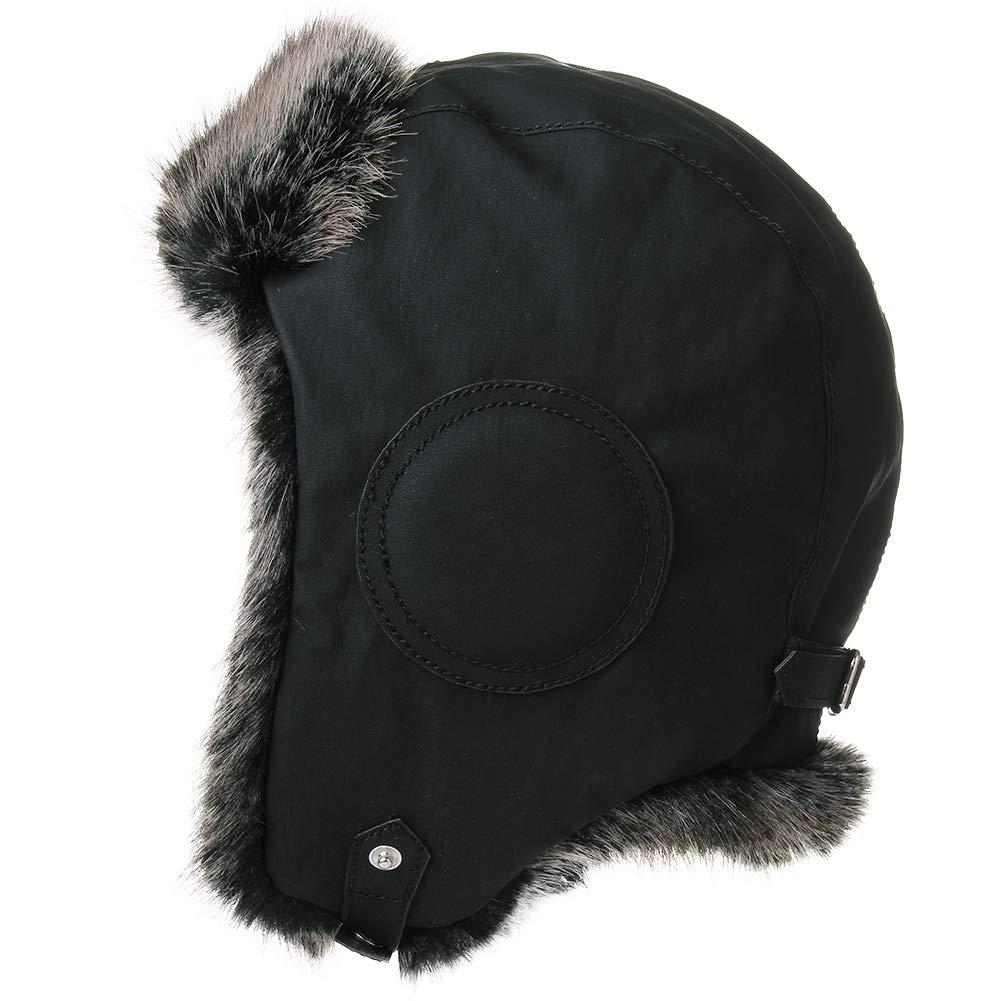 4d08ccc2 Galleon - Mens Womens Waterproof Faux Fur Hunting Bomber Trapper Flaps  Winter Pilot Cap Ushanka Russian Hat Balck
