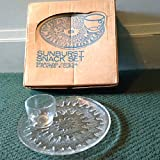 Vintage Indiana Glass Co. Sunburst 8pc. Snack Set No. 0853 Sprakling Crystal