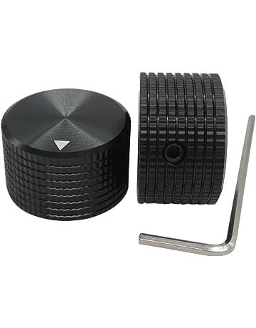 Taiss/ 2pcs Black Aluminum Rotary Electronic Control Potentiometer Knob For 6 mm Diameter Shaft,
