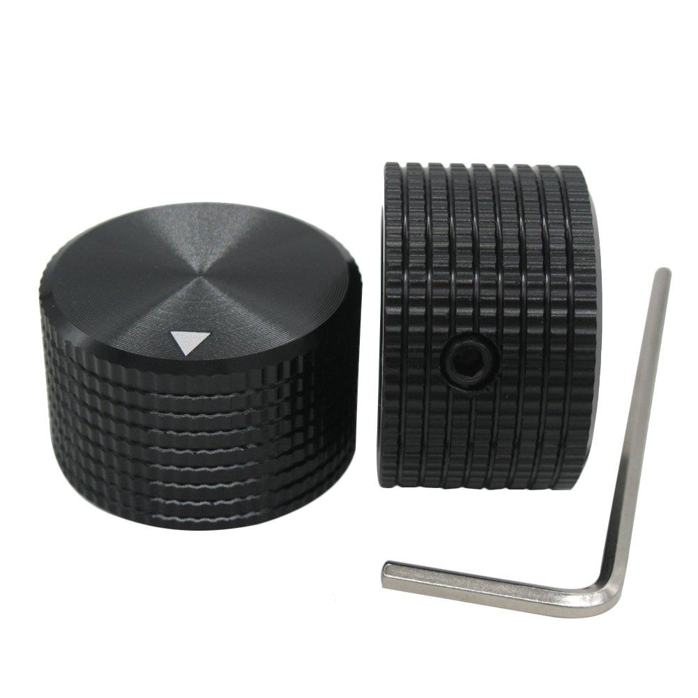 Taiss/2pcs Black Aluminum Rotary Electronic Control Potentiometer Knob For 6 mm Diameter Shaft, Volume Control Knob, Audio knob, Guitar Knob,Electric Guitar Knobs, 25mm dia. x 15mm height