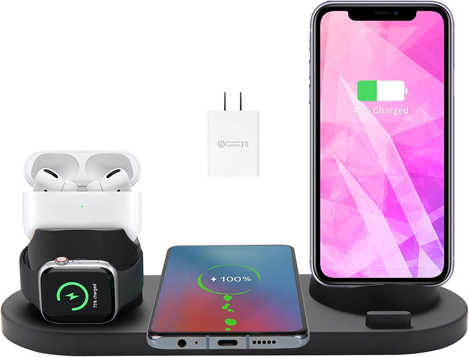 Wireless Charger,HeanYosn 4 in 1 Wireless Charger Stand,Charging Station for Multiple Devices,Qi Fast Wireless Charging Dock Compatible with iPhone 12 11 Xs XR X 8 iWatch 6 SE 5 4 Airpods Pro 2(Black)