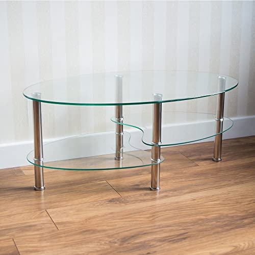 cara oval clear and frosted glass coffee table kitchen home. Black Bedroom Furniture Sets. Home Design Ideas