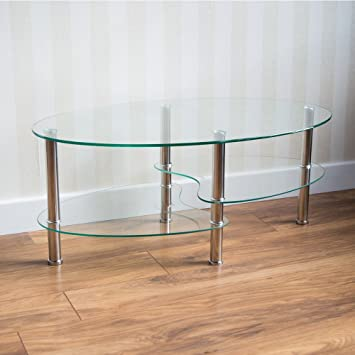 Home Discount® Cara Glass Coffee Table, Clear Oval Stainless Steel Legs  Modern