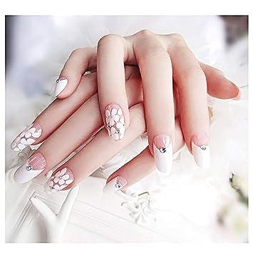Amazon.com: Drecode uñas postizas con brillantes y flores ...