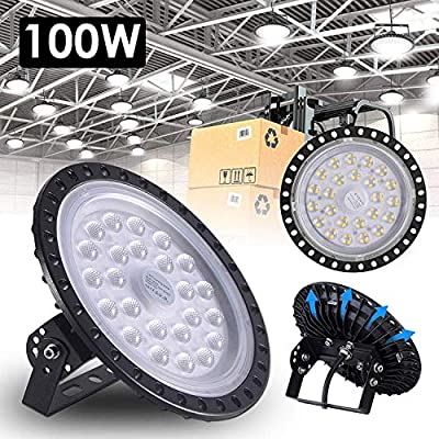 100W UFO LED High Bay Light lamp Factory Warehouse Industrial Lighting 10000 Lumen 6000-6500K IP65 Warehouse LED Lights- High Bay LED Lights- Commercial Bay Lighting for Garage Workshop (10 pcs)